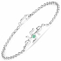 INDIAN TOUCH 0.10CTW Genuine Emerald .925 Sterling Silver Swast