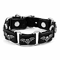 Black PU Leather Bracelet With Metallic Ornament For Men