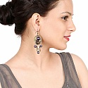 Oxidised Gold Plated Purple Stone Fashion Chandelier Earrings
