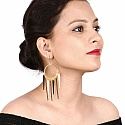 Gold Plated Black Nail Fashion Chandelier Earrings