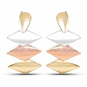 Gold Silver Three Tone Dangle Earrings For Women