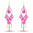 Gold Plated Pink Stone Fashion Chandelier Hoop Earrings