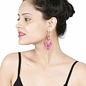 Gold Plated Pink Stone Fashion Chandelier Earrings