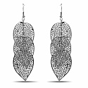 Silver Plated Leaf Shapedd Alloy Chandelier Earrings For Wom