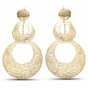 Gold Tone Plated Contemporary Fusion Dangle Earrings