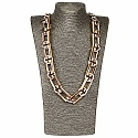 Gold Plated Brown Opera Length Link Style Fashion Necklace