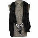 Chrome Plated Black Wrap Around Fashion Scarf Necklace