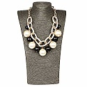 Gold Plated Pearl & Stone Princess Length Fashion Necklace