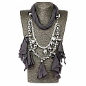 Chrome Plated Grey Trendy Wrap Around Scarf Necklace