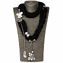 Chrome Plated Black Trendy Butterfly Wrap Around Scarf Neckl