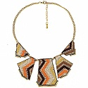 Gold Plated Orange Princess length Lace Design Fashion Neckl