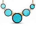 Gold Plated Blue Matinee Length Fashion Necklace Set
