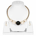 Gold Plated Black Beaded Princess Length Pearl Fashion Neckl