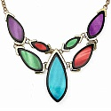 Gold Plated Multicolour Matinee Length Fashion Necklace Set
