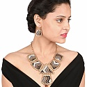 Gold Plated Brown Lace Matinee Length Fashion Necklace Set