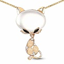 Rose Gold Plated White Stone Studded Cat Shape Fashion Penda