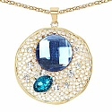 Rose Gold Plated Blue & White Stone Studded Fashion Pendant