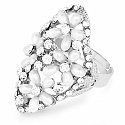 Chrome Plated Fashion Statement Floral Shape Pearl Studded R
