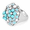 Chrome Plated Fashion Statement Turquoise & White Enamel Des
