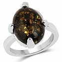 Chrome Plated Fashion Statement Trendy Black Amber Studded R