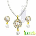 White Fresh Water Pearl with CZ Gold Plated Silver Alloy Royal Pearl Set