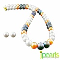 16-18 Inches Long Grey, Peach &amp; White Fresh Water Pearl with