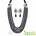 18-20 Inches Long Black Fresh Water Pearl with Black Crystal & CZ Silver Alloy Black Crystal Necklace