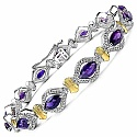 6.89CTW Genuine Amethyst .925 Sterling Silver Two Tone Plate