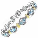9.75CTW Genuine Blue Topaz .925 Sterling Silver Two Tone Plated Bracelet