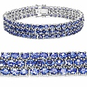 22.27CTW Genuine Tanzanite .925 Sterling Silver Bracelet