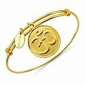 Gold Plated Brass 'OM Symbol' Embossed on Coin Bangle