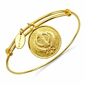 Gold Plated Brass 'Sikhism Symbol' Embossed on Coin Bangle