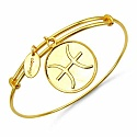 Gold Plated Brass 'Zodiac Symbol for Pisces' Embossed on Coi