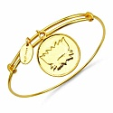 Gold Plated Brass 'Lotus Symbol' Embossed on Coin Bangle
