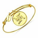 Gold Plated Brass 'Swastika' Embossed on Coin Bangle