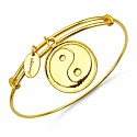 Gold Plated Brass 'Taoism Symbol' Embossed on Coin Bangle