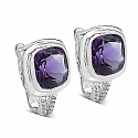 7.10CTW Genuine Amethyst .925 Sterling Silver Earrings