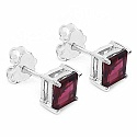 2.38CTW Genuine Rhodolite .925 Sterling Silver Square Shape