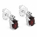 1.38CTW Genuine Garnet & White Cubic Zirconia .925 Sterling