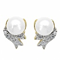 2.72CTW Genuine Pearl & White Cubic Zircon .925 Sterling Silver