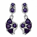 2.20CTW Genuine Amethyst .925 Sterling Silver Earrings