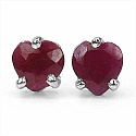 1.00CTW Genuine Ruby Heart Shaped .925 Sterling Silver Studs