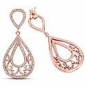 1.11CTW White Diamond 14K Rose Gold Earrings