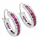 1.60CTW Genuine Ruby .925 Sterling Silver Earrings