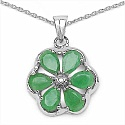 2.41CTW Genuine Emerald & Diamond .925 Sterling Silver Penda