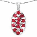3.25CTW Glass Filled Ruby .925 Sterling Silver Oval Shape Pe