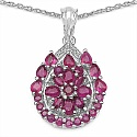 3.81CTW Genuine Ruby & White Cubic Zircon .925 Sterling Silv