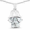 1.75CTW Genuine Aquamarine .925 Sterling Silver Pendant