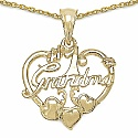Heart Shape Grandma 14K Yellow Gold Plated .925 Sterling Silver