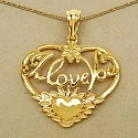 Heart Shape I Love You 14K Yellow Gold Plated .925 Sterling Sil